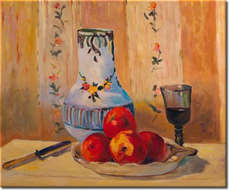 Stilleben mit Äpfeln und Kanne in 64x54cm
