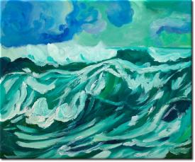Wellen im Sturm in 62x53cm