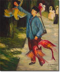 Der Papageienmann in 58x68cm (Variante 01)