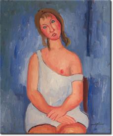 Rothaarige Junge Frau im Hemd in 68x63cm (Variante 01)