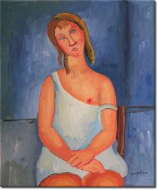 Rothaarige Junge Frau im Hemd in 68x63cm (Variante 02)