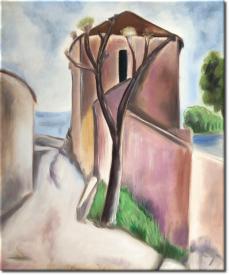 Baum und Haus in 53x62cm