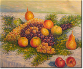 Birnen und Trauben in 64x52cm