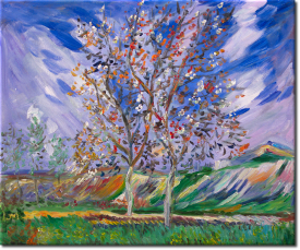 Blühende Birnenbäume in 61x51cm
