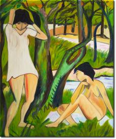 Zwei badende Mädchen im Hemd in 52x63cm