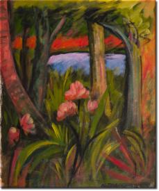 Waldstück mit Blumen und Teich in 55x62cm