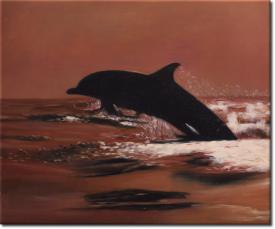 Der Sprung des Delphins in 60x50cm (Variante 01)
