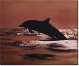 Der Sprung des Delphins in 60x50cm (Variante 02)