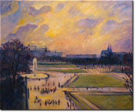 Der Springbrunnen in Tuileries in 62x52cm