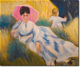 Frau mit Sonnenschirm in 65x55cm (Variante 05)