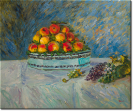 Stilleben mit Pfirsichen und Trauben in 67x57cm