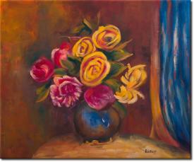 Rosen neben blauem Tapetenbehang in 67x57cm