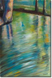 Sich im Wasser spiegelnde Bäume in 63x93cm (Variante 01)