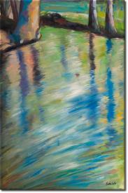 Sich im Wasser spiegelnde Bäume in 63x94cm (Variante 02)
