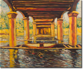 Unter der Brücke von Hampton Court in 63x54cm (Variante 01)