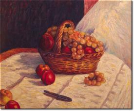 Stilleben mit Äpfeln und Weintrauben in 63x53cm (Variante 03)