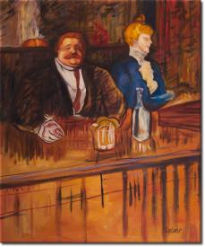 Im Cafe Gast und Kassiererin in 57x66cm (Variante 01)