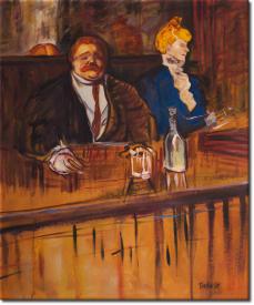 Im Cafe Gast und Kassiererin in 57x66cm (Variante 02)