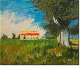 Bauernhaus in einem Weizenfeld in 64x54cm