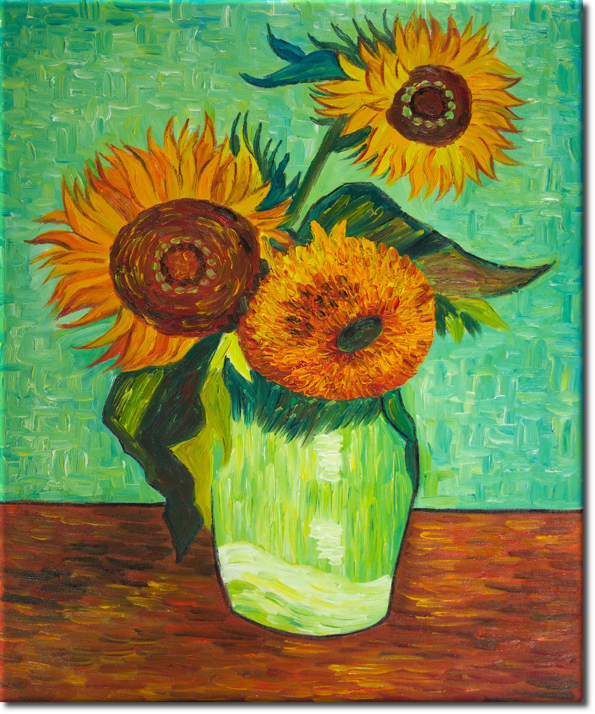 drei sonnenblumen in einer vase ein lbild nach van gogh in 50x60cm ebay. Black Bedroom Furniture Sets. Home Design Ideas