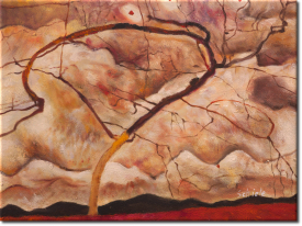 Herbstbaum in bewegter Luft in 42x33cm (Variante 01)