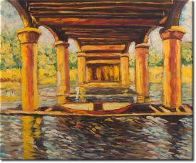 Unter der Brücke von Hampton Court in 64x54cm (Variante 01)